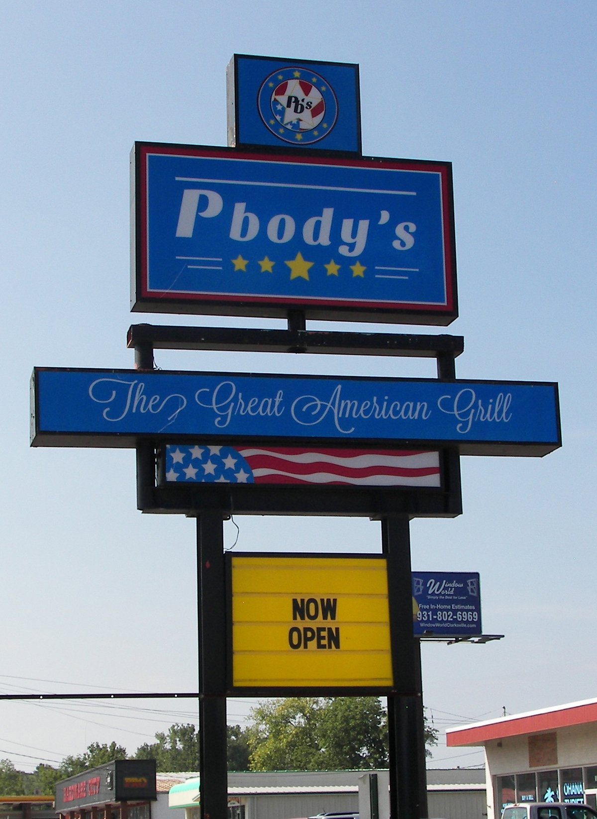 Pbody's - The Great American Grill - Sign