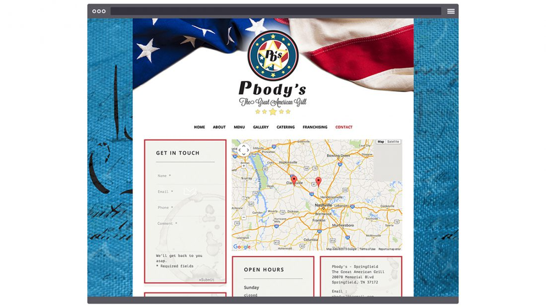 Pbody's - The Great American Grill - Website Design